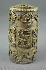 Collectible Handwork Old Miao Silver Carve Dragon Phoenix Special Toothpick Box