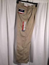 NWT 32x32 Khaki IZOD AMERICAN CHINO Classic Double Pleat Pants