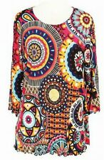 DAISY QUEEN Art Print Womens Tunic Tops with 3/4 Sleeves Covered Size S-M-L-XL