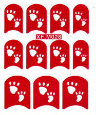 Nail Art Decal Stencil Stickers Paw Prints XF.M028