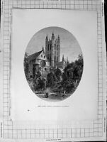 Original Old Antique Print C1900 View Bell Harry Tower Canterbury Cathedral