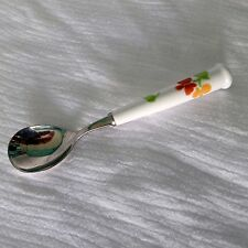 Noritake Versatone Spoon Stainless Steel White Ceramic Handle with Flowers