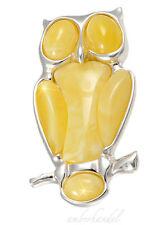 Brosche Eule Bernstein/Silber 925 Amber ca. 10 gr Gewicht sehr gute Verarbeitung