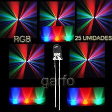 25X Diodo LED RGB 4,8x5 mm. Cambio  automatico de color 2 Pin alta luminosidad.