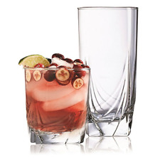 Ascot 16-Piece Glassware Set - 8 16.5 Oz Coolers, 8 13 Oz Old Fashioned, Glass