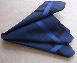 Vintage Handkerchief MENS Hankie Top Pocket Square NAVY COTTON