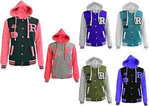 Womens Ladies R61 Fox Baseball Hooded Jacket Comfortable Long Sleeve Hoodie 8-14