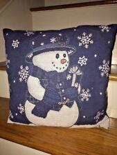 DECORATIVE SNOWMAN Snowflake Winter HOLLY CHRISTMAS DECOR Throw Pillow 16 X 16