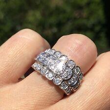 $4000 18K White Gold Diamond Cobra HUGE Flexible Band Horizontal Ring Certified