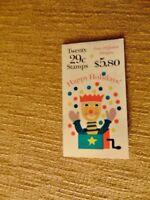 US Postal $5.80 Christmas Stamp Book Deer Snowman Jester Soldier Unused 29 cent