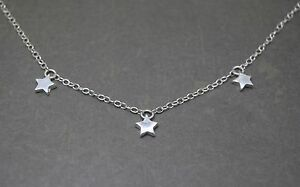 Triple Silver Star Necklace  Solid Sterling 925 Tiny Three Star Sophie Mama Mia