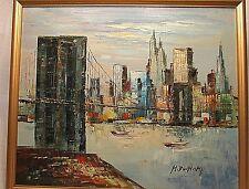 Duchamp Oil Painting on Canvas New York City Brooklyn Bridge Framed Vintage