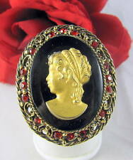 Vintage Red Rhinestone Cameo Gold tone Pin CAT RESCUE