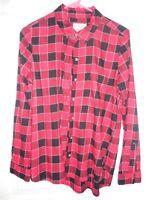 Womens SO Soft Flannel Shirt Red & Black Plaid Sz M