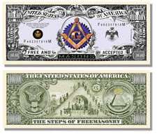 LOT of 6 Masonic ONE MILLION DOLLARS Bill w/ Steps of Freemason ( lapel pin hat