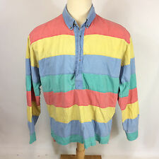 Vintage 80s Bold Surf Stripe Color Block Pullover Beach Zack Morris Polo Shirt L