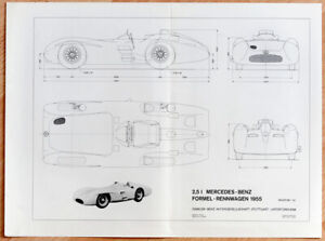 """orginal Plakat Poster """"Mercedes-Benz W196 Silberpfeil"""" Konstruktionsplan 1967"""