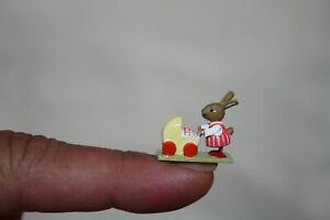 Miniature Dollhouse Artisan Wooden Mam Bunny w Baby in Pram Erzgebirge Germany