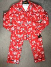 M&S AUTOGRAPH RED FLORAL PYJAMAS WITH COLLAR AND BUTTON TOP - AGE 11-12y - BNWT