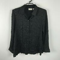 Chico's Blouse Womens Size 1 Black Long Sleeve Wrinkle Style Button Up Polyester