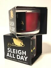 LOT 2 BATH & BODY WORKS HOLIDAY SLEIGH ALL DAY FILLED SCENTED 1.3 MINI CANDLE