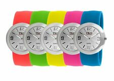 TKO Women Fashion Metal Slap Watch, Hypoallergenic Silicone Slip-On Bracelet