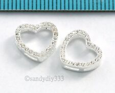 1x STERLING SILVER CZ CRYSTAL HEART SPACER SEPARATOR CONNECTOR BEAD 10.7mm #2810