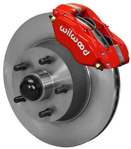 """WILWOOD DISC BRAKE KIT,FRONT,58-68 FORD,MERCURY,11"""" ROTORS,RED DYNALITE CALIPERS"""