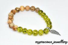 Natural Green Peridot Bracelet 8mm Beaded Gemstone Reiki Chakra UK Gift