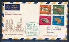 96393) LH FF München - Zürich Schweiz 1.4.68, SoU ab Berlin Satz Jugend Tiere