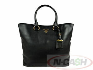 BIGSALE! AUTHENTIC $1450 PRADA 1BG865 Vitello Phenix Nero Leather Tote Bag