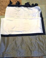 "ETHAN ALLEN SILK CURTAIN~ 95"" x 72""- CREAM WITH NAVY TABS & PLAID BOTTOM"