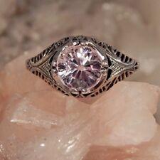 3.02 Ct. Round Kunzite Ring Sterling Silver Filigree Setting
