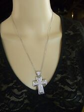 """WHITE TOPAZ STERLING SILVER CROSS PENDANT & CHAIN NECKLACE SIGNED """"BL"""""""