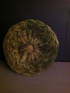 """Stunning VTG green velvet throw pillow round woven 8"""""""