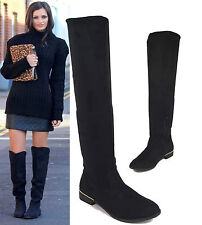 Women's Faux Suede Pull on Knee High Boots