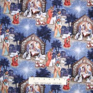 Christmas Fabric - Blessed Birth Nativity Scene Blue - Springs YARD