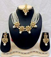 New Indian Crystal Pearl Kundan Wedding Fashion Jewelry Costume Necklace Set