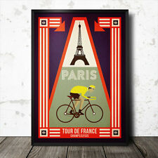 paris tour de france poster cycling retro vintage maillot jaune