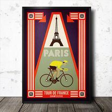 paris tour de france poster cycling retro vintage maillot jaune