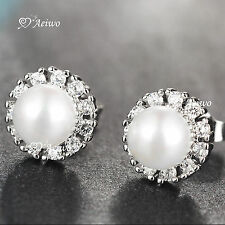 18K WHITE GOLD GF MADE WITH SWAROVSKI CRYSTAL PEARL STUD EARRINGS SMALL CUTE