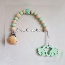 SILICONE Cuore Ali D'Angelo Baby Perline Teether dentizione Baby Carrier Passeggino Giocattolo