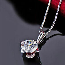 Lady Crystal Necklace Chain 925 Sterling Silver Fashion Plated Pendant