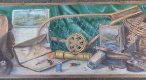 Wallpaper Border Fly Fishing Theme Wall Decor Rods Flies Tackle fishing book
