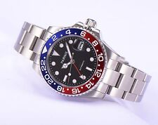 Parnis Sapphire Red GMT Automatic Men Watch Rotating Bezel Stainless Steel Strap