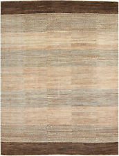 9X12 Hand-Knotted Gabbeh Carpet Modern Brown Fine Wool Area Rug D41527