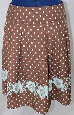 Brown Blue Aloha Skirt 8 Cato Pleated Short Hawaiian Womens Polka Dot Floral VTG