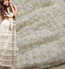 """Off White Lace Fabric Soft Cotton Embroidered Tulle Gauze Scalloped Edge 49"""""""