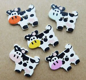 5 x Cow Buttons, Wooden, Mixed Colours, NEW, 27mmx21mm, 2 holes, Craft, hobby