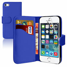 BLUE Wallets Plain leather Case Cover with Card Slots for Apple iPhone 5/5S